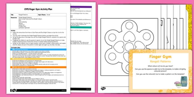 EYFS Rangoli Patterns Finger Gym Plan and Resource Pack