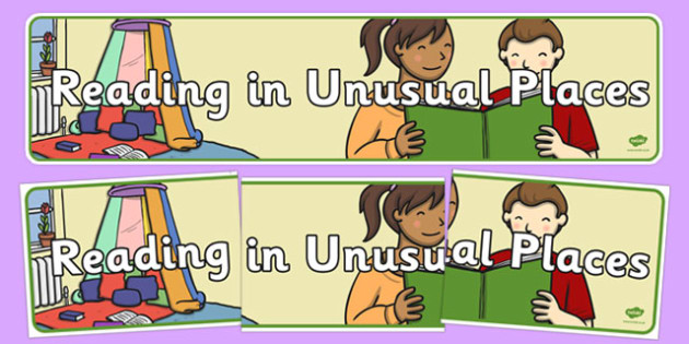 Reading in Unusual Places Display Banner - reading, unusual places, read, display, display banner