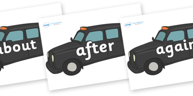 KS1 Keywords on Taxi Cabs - KS1, CLL, Communication language and literacy, Display, Key words, high frequency words, foundation stage literacy, DfES Letters and Sounds, Letters and Sounds, spelling