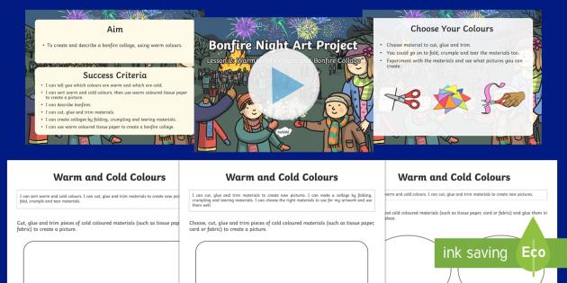 KS1 Bonfire Night Art Lesson 2: Warm/Cold Colours and Bonfire Collage PowerPoint