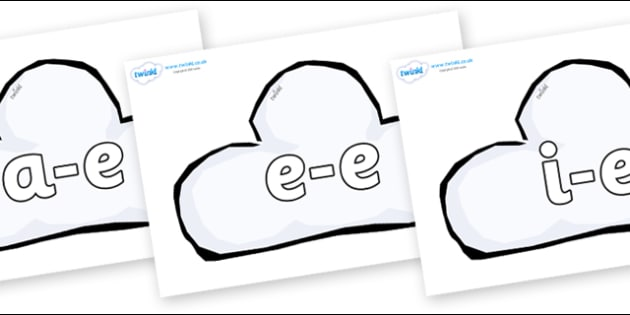 Modifying E Letters on Weather Symbols (Cloud) - Modifying E, letters, modify, Phase 5, Phase five, alternative spellings for phonemes, DfES letters and Sounds