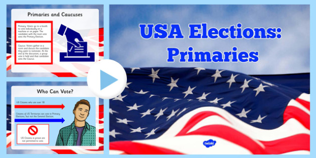 USA Elections Primary Elections PowerPoint - President, Primary, Election, Candidate