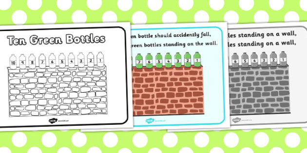 Ten Green Bottles Sequencing - Ten Green Bottles,10 Green Bottles, sequencing, nursery rhyme, rhyme, rhyming, nursery rhyme story, nursery rhymes, counting rhymes,counting backwards, subtraction, one less than,