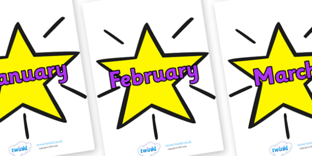 Months of the Year on Stars - Months poster, months, week, star, stars, Months display, display, poster, frieze, Months of the Year