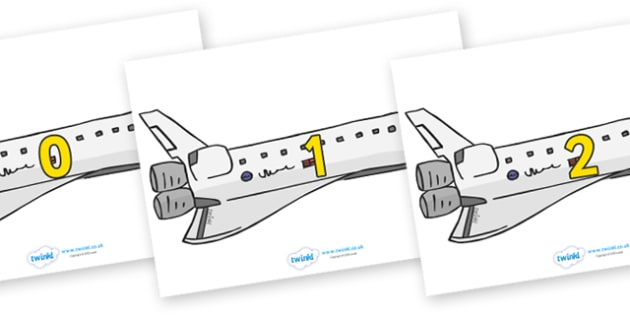 Numbers 0-50 on Space Shuttles - 0-50, foundation stage numeracy, Number recognition, Number flashcards, counting, number frieze, Display numbers, number posters