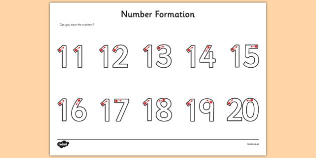 Number Formation Activity Sheet 11-20 - fine motor skills, numbers, worksheet