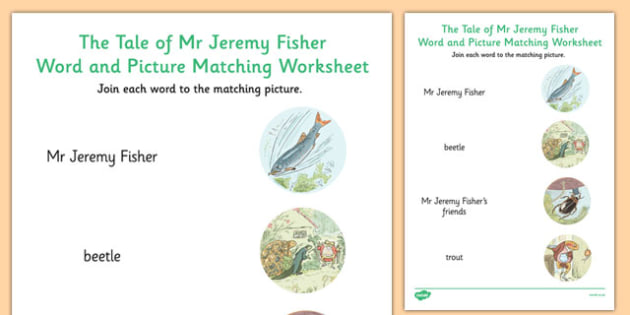 Beatrix Potter - The Tale of Mr Jeremy Fisher Word and Picture Match - beatrix potter, story, story book, tale, mr jeremy fisher, word, picture, match