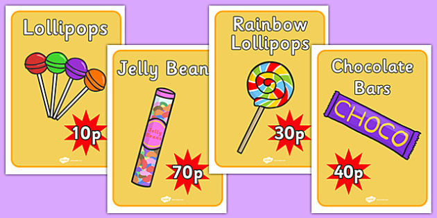 Sweet Shop Role Play Signs - sweets, shop, role play, candy, candy shop, sign, signs, poster, banner, display, poster, lollipop, pick and mix