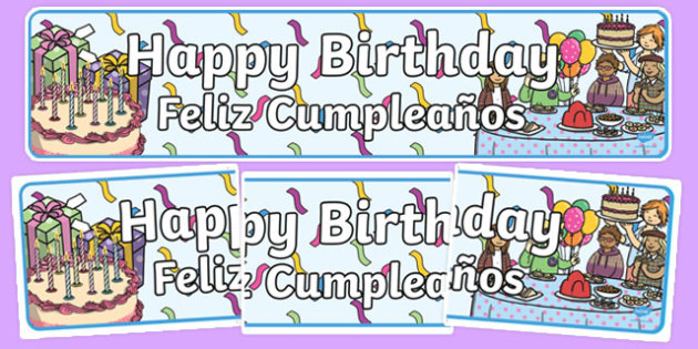 Birthdays Display Banners Spanish Translation - spanish, Display banner, birthday, birthday poster, birthday display, months of the year, cake, balloons, happy birthday