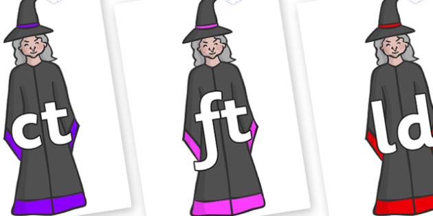 Final Letter Blends on Witches - Final Letters, final letter, letter blend, letter blends, consonant, consonants, digraph, trigraph, literacy, alphabet, letters, foundation stage literacy