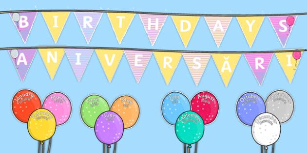 Balloon Themed Birthday Display Pack Romanian Translation-Romanian-translation