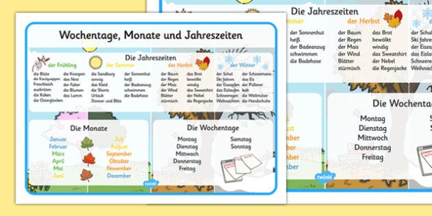 Tage, Monate und Jahreszeiten Wort Matte German - german, days, months, seasons, year, word mat, word, mat
