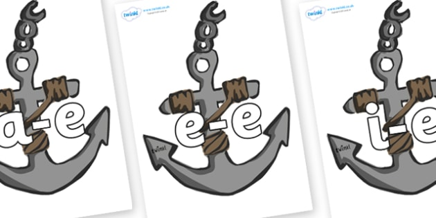 Modifying E Letters on Anchors - Modifying E, letters, modify, Phase 5, Phase five, alternative spellings for phonemes, DfES letters and Sounds