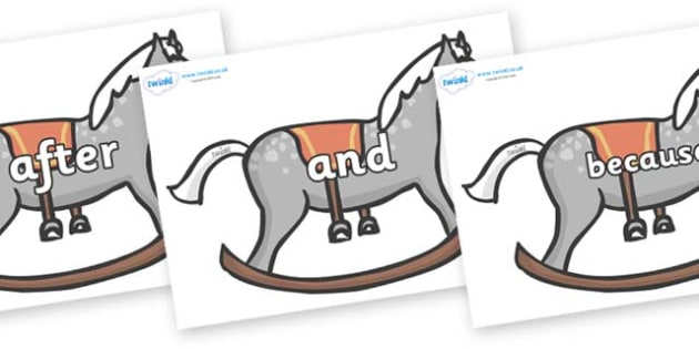 Connectives on Rocking Horses - Connectives, VCOP, connective resources, connectives display words, connective displays