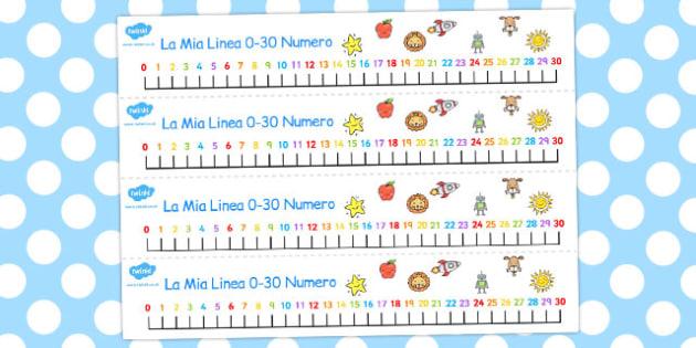 Italian Number Line 0-30 - italian, number, line, 0-30, numbers