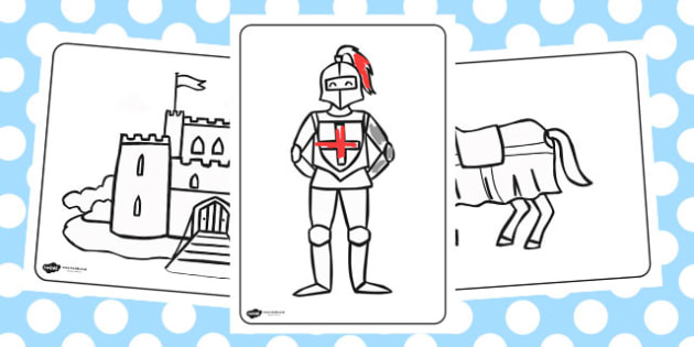 Castles and Knights Colouring Sheets - australia, colour, sheet