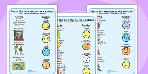Emotions Activity Worksheets Polish Translation - polish, emotions