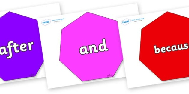 Connectives on Heptagons - Connectives, VCOP, connective resources, connectives display words, connective displays