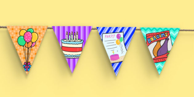 6th Birthday Party Picture Bunting - 6th birthday party, 6th birthday, birthday party, picture bunting