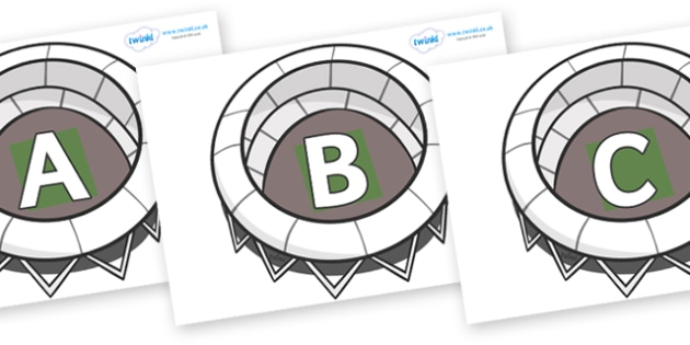 A-Z Alphabet on Stadiums - A-Z, A4, display, Alphabet frieze, Display letters, Letter posters, A-Z letters, Alphabet flashcards