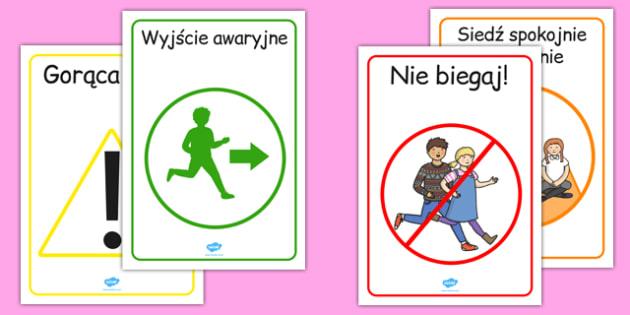 Plakaty ścienne Bezpieczeństwo po polsku - BHP, wyjście awaryjne