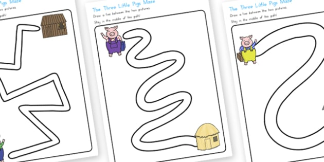 The Three Little Pigs Pencil Path Control Worksheets - australia