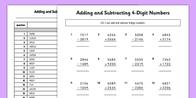 Number Names Worksheets subtracting 4 digit numbers Free – 4 Digit Subtraction Worksheets