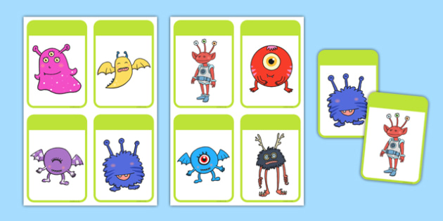 Creative Alien Picture Cards - Picture cards, space, aliens, planets, describing, patterns, colours
