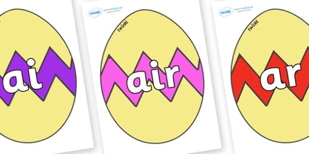 Phase 3 Phonemes on Easter Eggs (Cracked) - Phonemes, phoneme, Phase 3, Phase three, Foundation, Literacy, Letters and Sounds, DfES, display