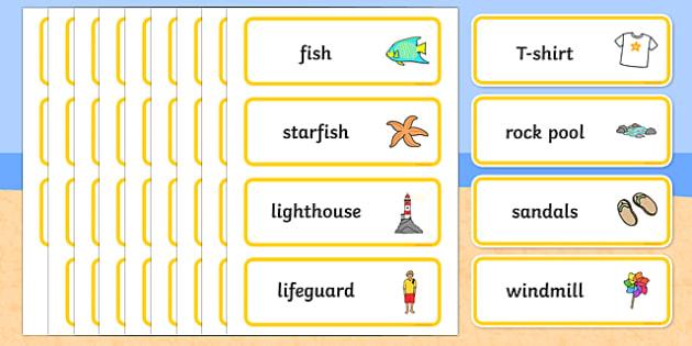 Seaside Word Cards - Word Card, Under the sea, sea, seaside, topic, water, tide, waves, sand, beach, sea, sun, holiday, coast