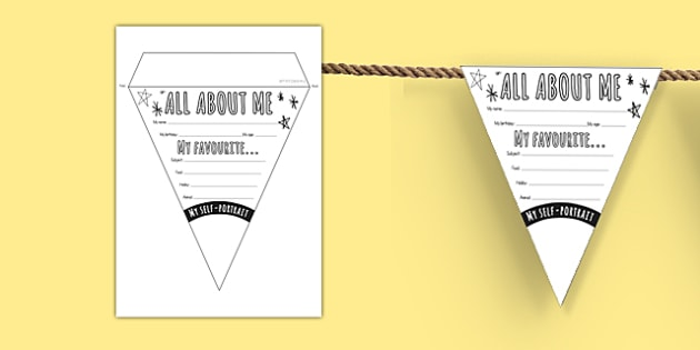 All About Me Bunting - ourselves, all about me, flags, display