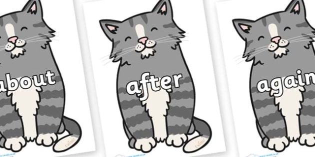 KS1 Keywords on Kittens - KS1, CLL, Communication language and literacy, Display, Key words, high frequency words, foundation stage literacy, DfES Letters and Sounds, Letters and Sounds, spelling