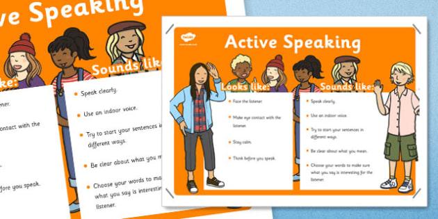 Active Speaking Skills Poster - active speaking, skills poster, skills, poster, display