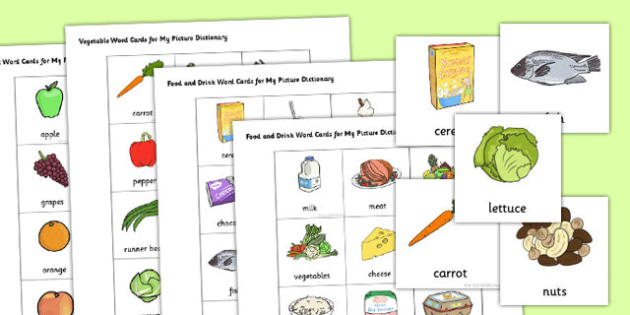 Picture Dictionary Food and Drinks Word Cards Pack - food, pack