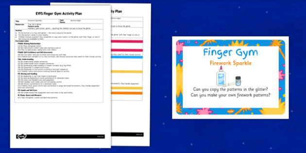 EYFS Firework Sparkle Finger Gym Activity Plan and Prompt Card Pack