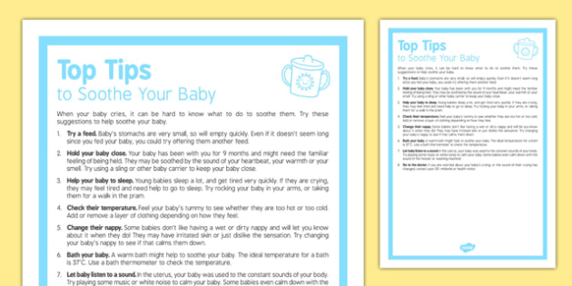 Top Tips to Soothe Your Baby - feeding, changing, nappies, newborn