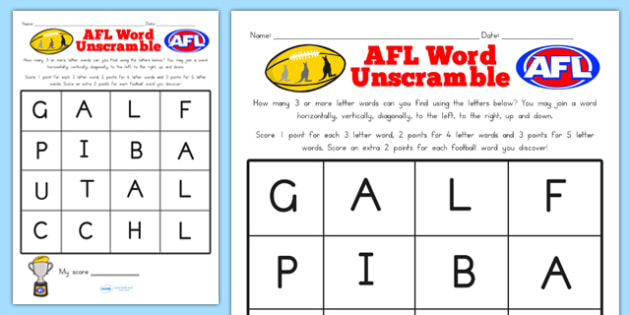 AFL Australian Football League Word Unscramble - scramble, sport