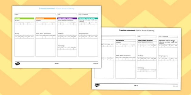 Transition Summary Form for Specific Areas of Learning  - summary