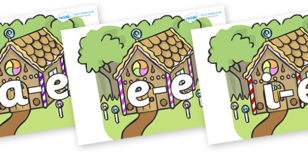 Modifying E Letters on Gingerbread House - Modifying E, letters, modify, Phase 5, Phase five, alternative spellings for phonemes, DfES letters and Sounds