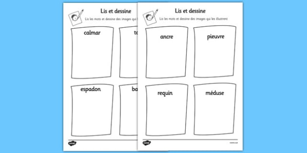 Under the Sea Read and Draw Worksheet French - french, under the sea, read, draw, worksheet, under, sea