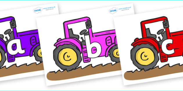 Phoneme Set on Tractors - Phoneme set, phonemes, phoneme, Letters and Sounds, DfES, display, Phase 1, Phase 2, Phase 3, Phase 5, Foundation, Literacy