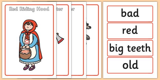 Little Red Riding Hood Character Describing Words Match Activity