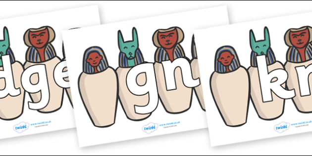 Silent Letters on Egyptian Jars - Silent Letters, silent letter, letter blend, consonant, consonants, digraph, trigraph, A-Z letters, literacy, alphabet, letters, alternative sounds
