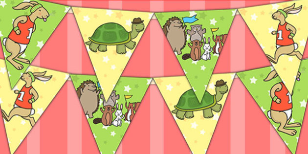 The Tortoise and The Hare Bunting - stories, story books, display