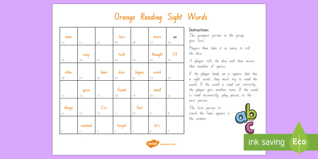 Orange Reading Sight Words Board Game - Literacy, Reading, Orange, Sight Words, Colour Wheel, orange sight words
