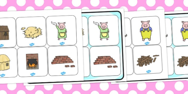 The Three Little Pigs Matching Cards and Board - games, game