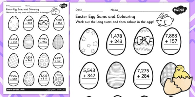 Easter 4 Digit Addition Worksheet - easter, numeracy, adding, RE