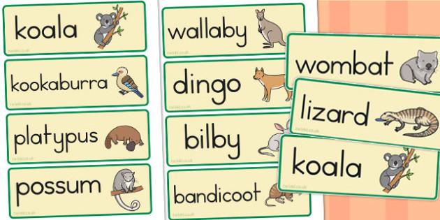 Australian Animal Word Cards - animals, australian animals, words