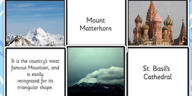 European Landmarks Fact Cards - europe, land marks, geography