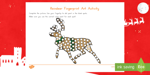 Reindeer Fingerprint Art Activity Sheet